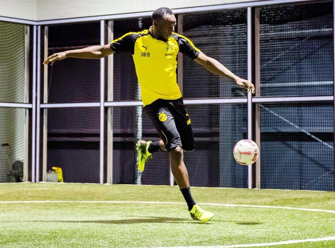Usain Bolt at a training session at Borussia Dortmund in March this year