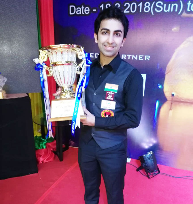 Pankaj Advani with the Asian Billiards Championships on Saturday