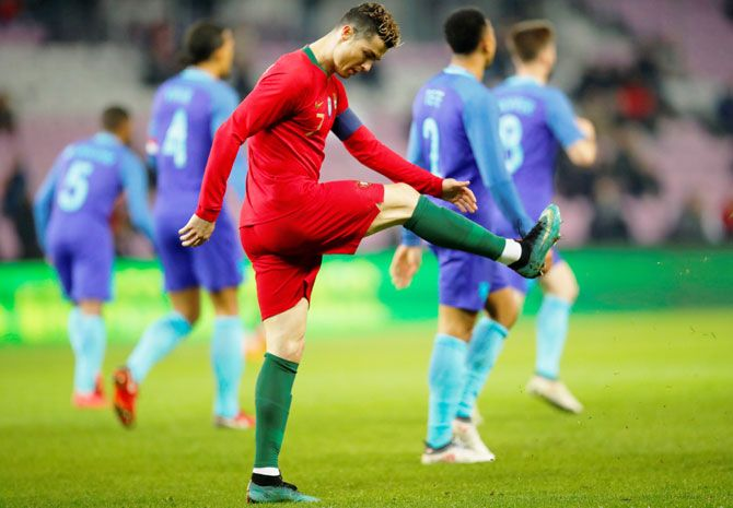 Portugal's Cristiano Ronaldo cuts a frustrated figure during their international friendly against Netherlands at the Stade de Geneve, in Geneva on Monday