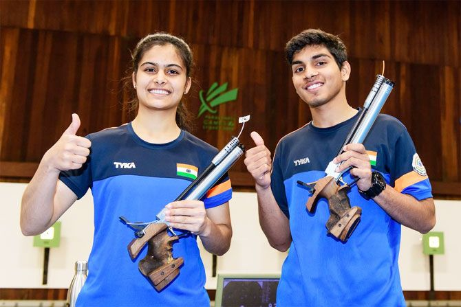 Manu Bhaker and Anmol after their mixed air pistol gold at the ISSF Junior World Cup on Tuesday