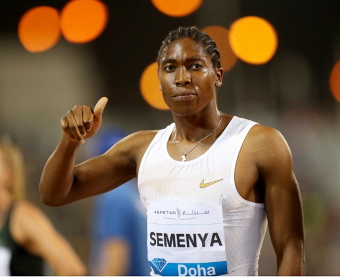 South Africa's Caster Semenya celebrates