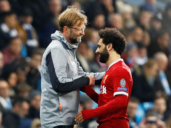 Liverpool's Juergen Klopp with talisman striker Mohamed Salah