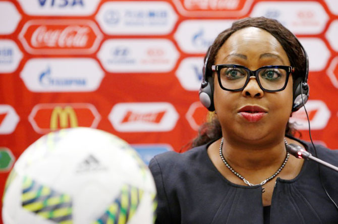 FIFA Secretary General Fatma Samoura attends a news conference