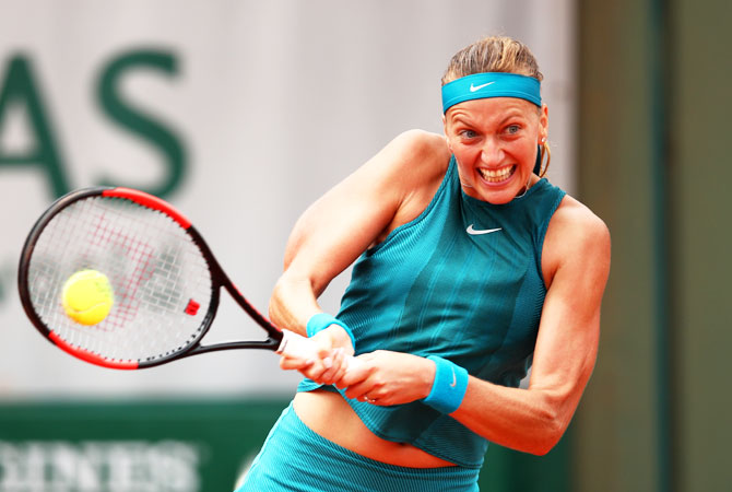 Czech Republic's Petra Kvitova plays a forehand during her second round match against Spain's Lara Arruabarrena