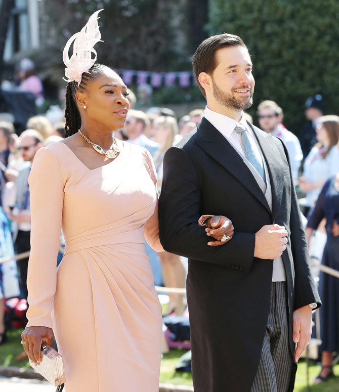 Serena Williams and Alexis Ohanian arrive at St George's Chapel at Windsor Castle before the wedding of Prince Harry to Meghan Markle in Windsor, England, on May 19