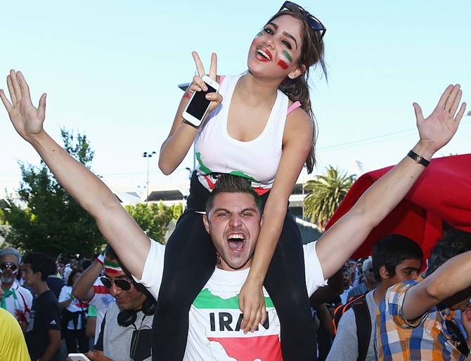 Fans arrive prior to the 2015 Asian Cup match between Iran and Bahrain