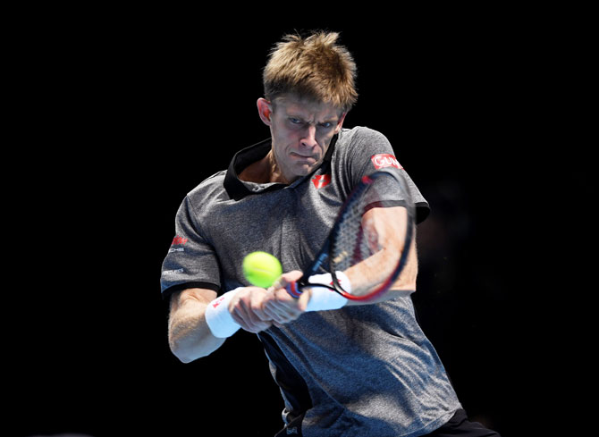 South Africa's Kevin Anderson in action against Japan's Kei Nishikori during his ATP Tour Finals group stage match at the O2 Arena in London on Tuesday