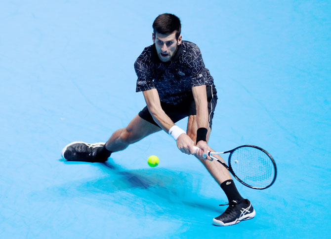 Serbia's Novak Djokovic in action during his ATP Finals group stage match against Germany's Alexander Zverev at the OZ Arena in London on Wednesday