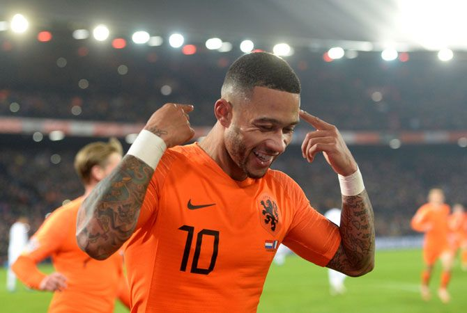 Netherlands' Memphis Depay celebrates scoring their second goal against France during their UEFA Nations League  Group 1 match at De Kuip, Rotterdam, Netherlands on Friday