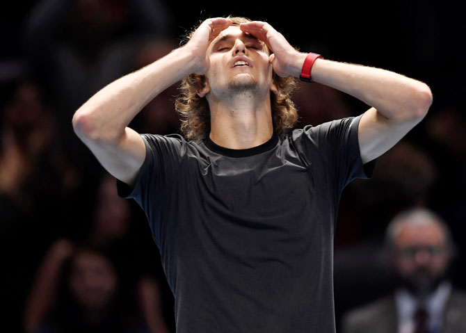 Alexander Zverev is in disbelief after beating Novak Djokovic to win the ATP Tour Finals title on Sunday