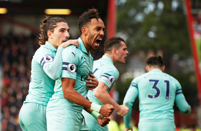 Arsenal's Pierre-Emerick Aubameyang celebrates scoring their second goal against AFC Bournemouth at Vitality Stadium on Sunday
