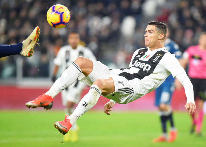 Juventus' Cristiano Ronaldo in action during the Serie A match against SPAL in Turin on Saturday