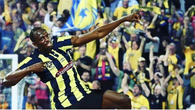 Usain Bolt scored two goals for Central Coast Mariners in their trial match against Macarthur South West United on Friday