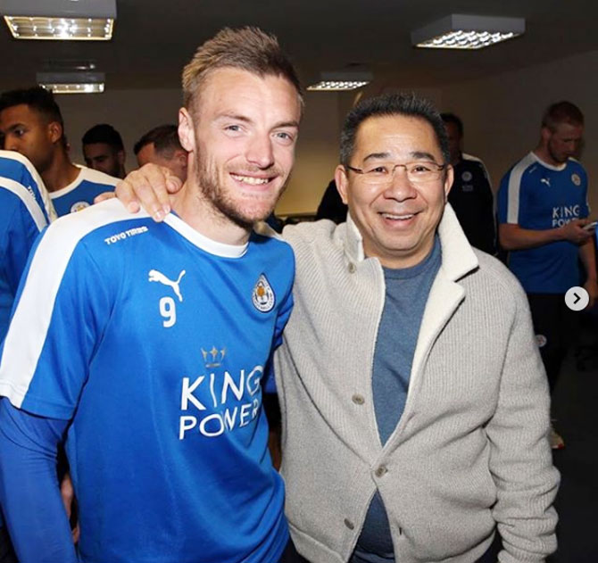 Jamie Vardy posted this picture of him with Vichai Srivaddhanaprabha on his Instagram page