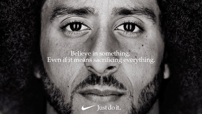 "Former San Francisco quarterback Colin Kaepernick appears as a face of Nike Inc advertisement marking the 30th anniversary of its ""Just Do It"" slogan in this image released by Nike in Beaverton, Oregon, USA on Tuesday"