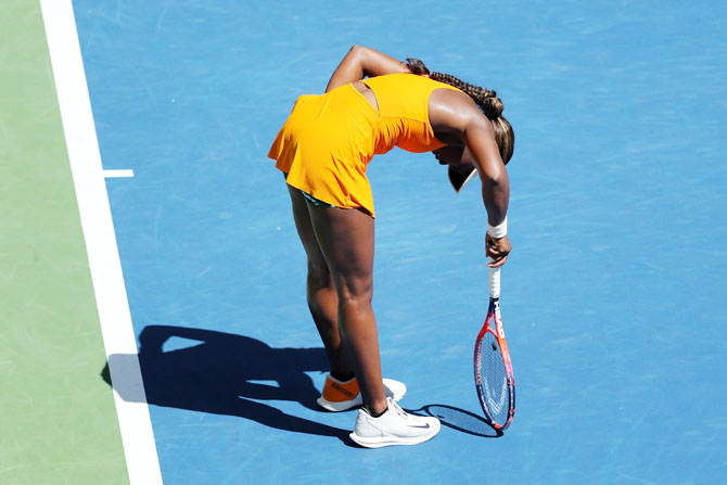 Sloane Stephens reacts during her women's singles quarter-final match against Latvia's Anastasija Sevastova on Tuesday