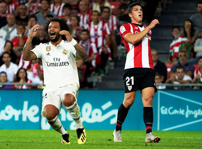 Real Madrid's Marcelo reacts during the match against Atletico Madrid