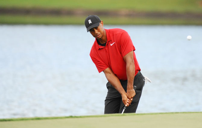 Tiger Woods on the 15th hole during the final round of the Tour Championship golf tournament at East Lake Golf Club