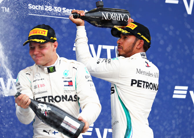 Rediff Sports - Cricket, Indian hockey, Tennis, Football, Chess, Golf - F1 PIX: Hamilton wins Russian GP to go 50 points clear