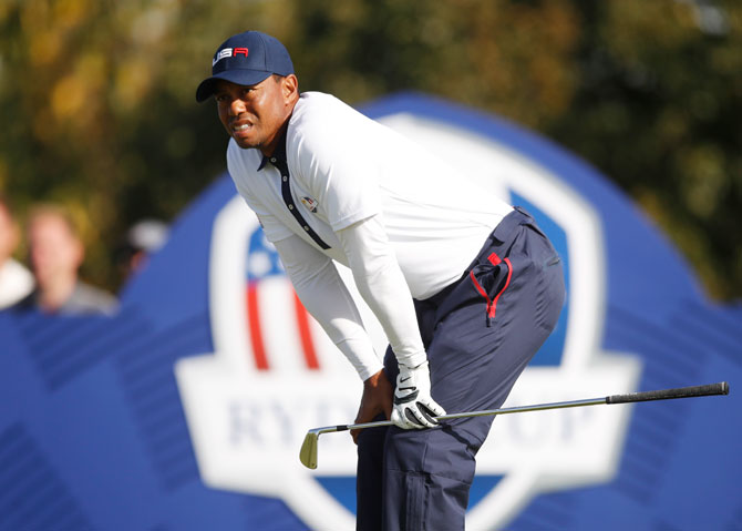 Team USA's Tiger Woods during the Foursomes during the Ryder Cup at Le Golf National in Guyancourt, France, on Saturday