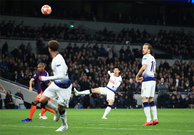 Tottenham Hotspur's Heung-Min Son scores against Manchester City during their UEFA Champions League match at Tottenham Hotspur Stadium in London on Tuesday