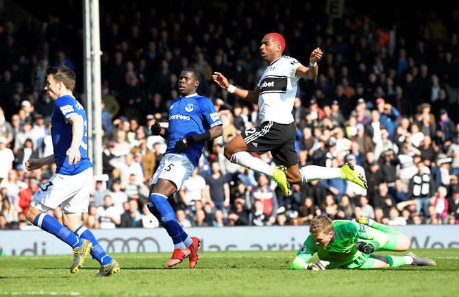 Fulham's Ryan Babel scores their second goal against Everton at Craven Cottage in London on Saturday