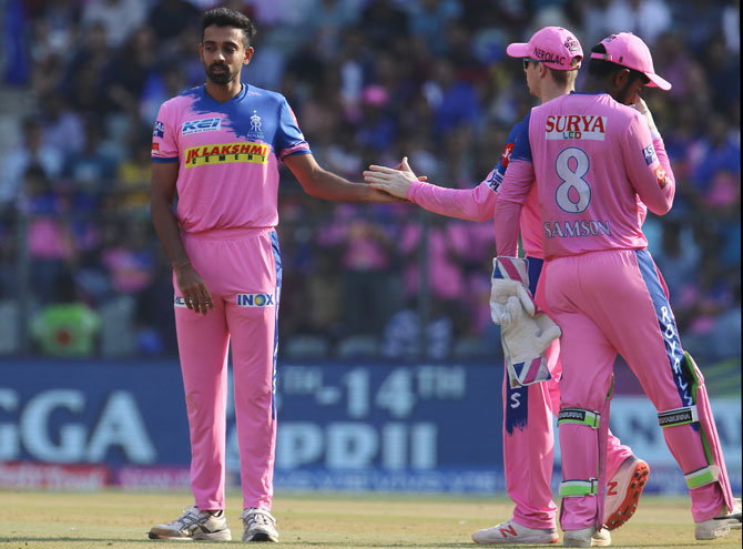 Rajasthan Royala' Dhawal Kulkarni celebrates after taking the wicket of MI's Suryakumar Yadav on Saturday
