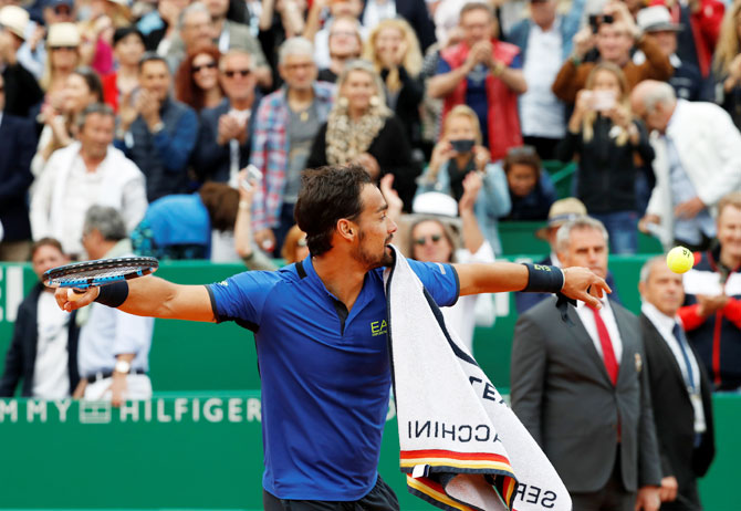 Italy's Fabio Fognini celebrates winning his semi-final win against Spain's Rafael Nadal at Monte Carlo Masters - Monte-Carlo Country Club, Roquebrune-Cap-Martin, France on Saturday
