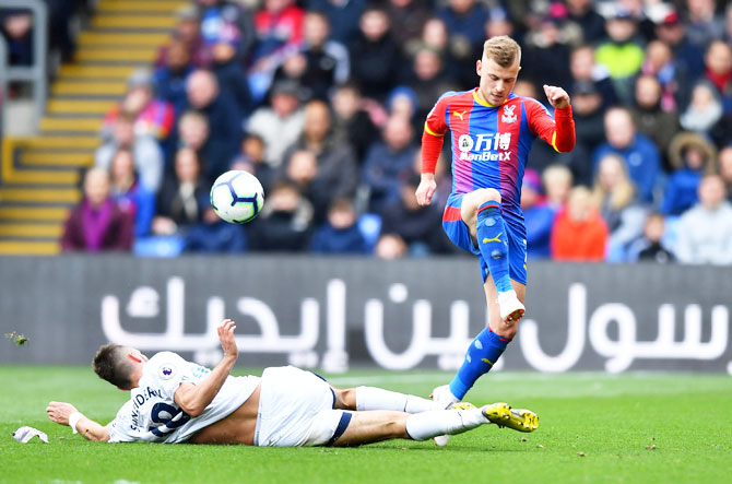 Everton's Morgan Schneiderlin challenges Crystal Palace's Max Meyer during their match at Selhurst Park, London