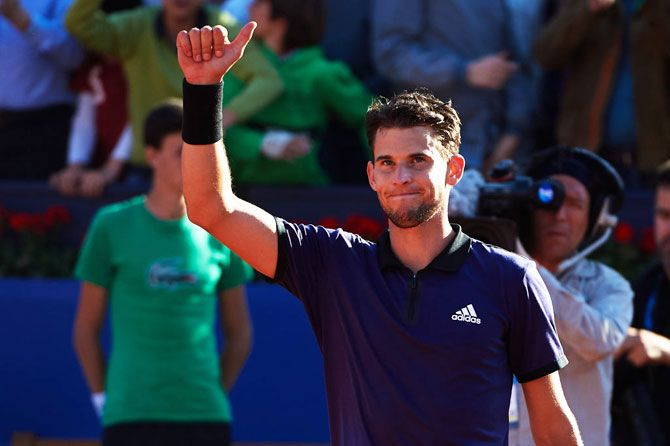 Austria's Dominic Thiem celebrates on defeating Spain's Rafael Nadal in the Barcelona Open semi-final at Real Club De Tenis Barcelona in Barcelona on Saturday