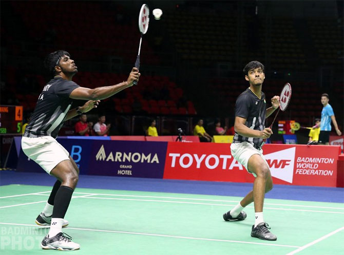 Satwiksairaj Rankireddy, left, and Chirag Shetty