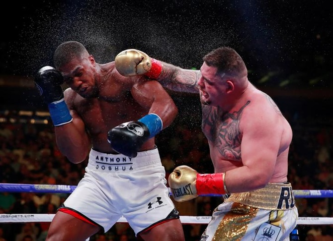 Andy Ruiz Jr in action with Anthony Joshua Action during their bout at Madison Square Garden, New York, on June 1, 2019.