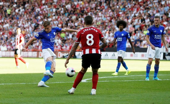 Harvey Barnes scores Leicester City's second goal.