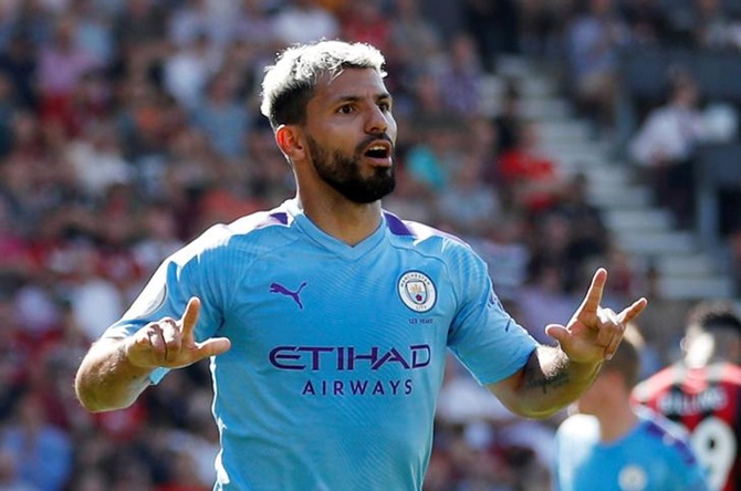 Aguero brace as City beat Bournemouth; Spurs stunned