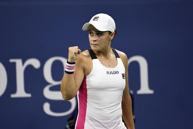 Ashleigh Barty celebrates after defeating Lauren Davis.
