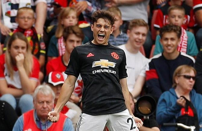 Daniel James celebrates scoring for Manchester United in Saturday's Premier League match against Southampton.