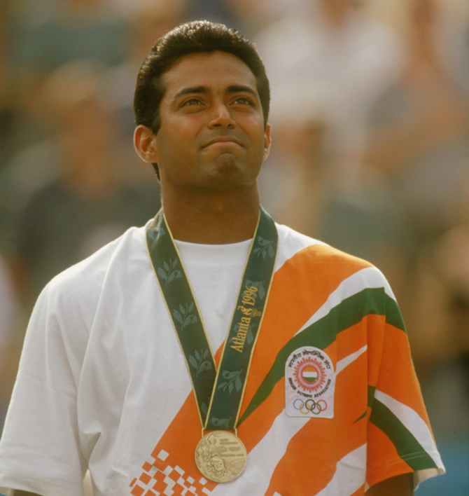 India's Leander Paes on the podium after winning the bronze medal in the men's singles tennis event at the 1996 Summer Olympic Games in Atlanta, Georgia, on August 3, 1996.