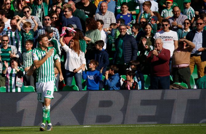 Real Betis' Joaquin Sanchez celebrates on completing his hat-trick against Athletic Bilbao on Sunday