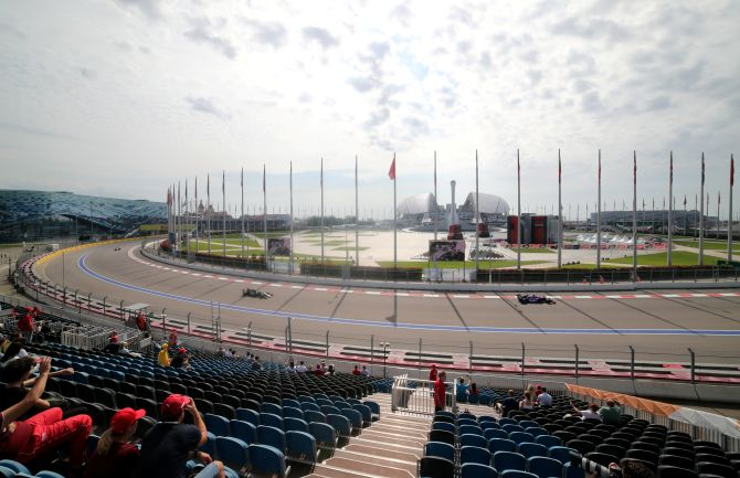 A practice session at the Russian Grand Prix at the Sochi Autodrom in Sochi, Russia, on September 27, 2019