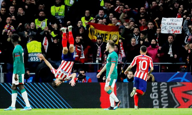 Atletico Madrid's Felipe celebrates scoring their second goal against Lokomotiv Moscow during their Champions League Group D  match at Wanda Metropolitano in Madrid, Spain