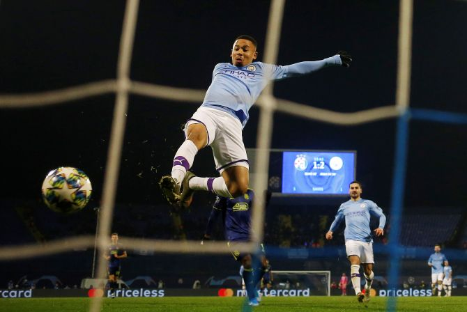 Manchester City's Gabriel Jesus scores their third goal to complete his hat-trick against GNK Dinamo Zagreb in their Champions League Group C match at Stadion Maksimir in Zagreb, Croatia
