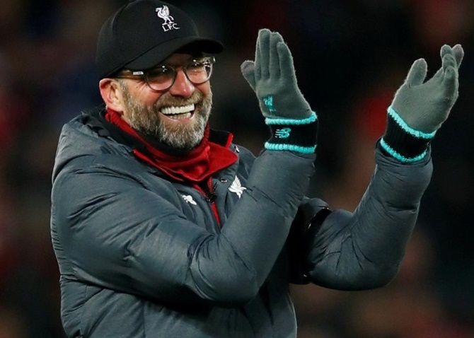 Liverpool manager Juergen Klopp celebrates.