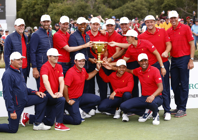 PIX: Tiger leads from front as US win Presidents Cup
