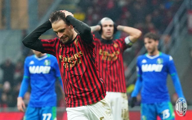 AC Milan players were left frustrated multiple times with a galore of missed chances during their in Serie A match against Sassuolo on Sunday