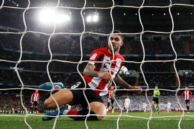 Athletic Bilbao's Unai Nunez clears the ball from the goal line during the match against Real Madrid in Spain on Sunday