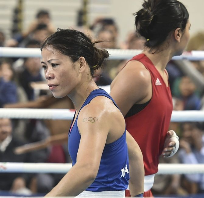 Boxer Mary Kom after her bout against Nikhat Zareen for the Olympic qualifiers on December 28