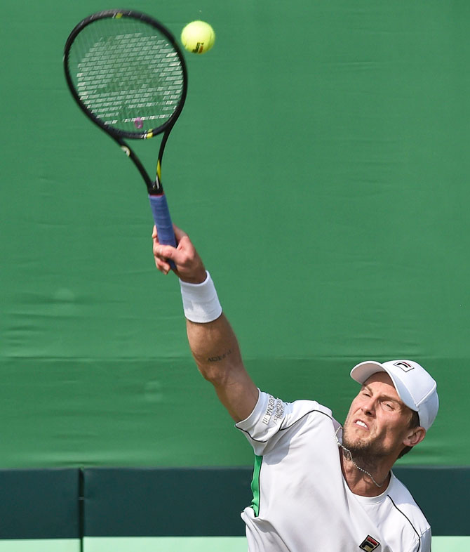 Italy's Andreas Seppi in action during mens singles tennis match against Indias Prajnesh Gunneswaran during the Davis Cup 2019 qualifiers at South Club in Kolkata on Saturday