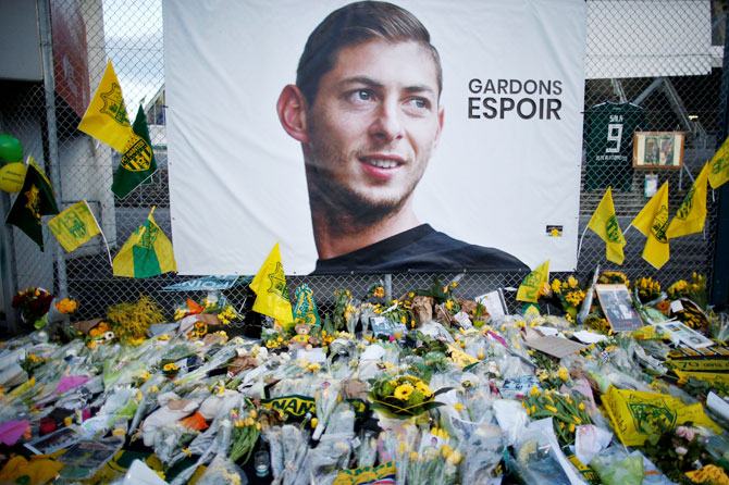 Tributes left outside the Stade de la Beaujoire stadium in Louis Fonteneau, Nantes, in France for Emiliano Sala on January 30, 2019