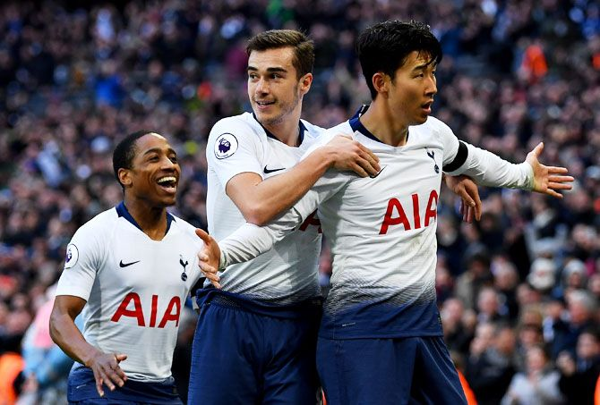 Tottenham Hotspur's Heung-Mim Son celebrates scoring his team's third goal during their Premier League match against Leicester City at Wembley Stadium in London on Sunday