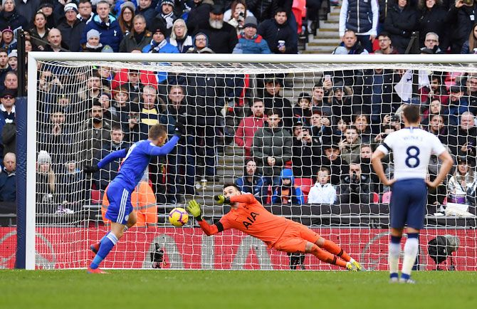 Tottenham Hotspur's keeper Hugo Lloris saves a penalty off Leicester City's Jamie Vardy